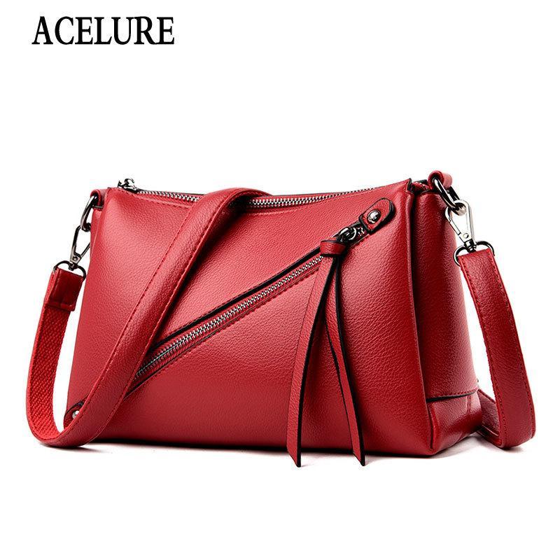 Shopping crossbody morbido donna in pelle borse in pelle borse solide per satchels semplici borse femminili donne borsa ACELURE PU Fashion Awuqn