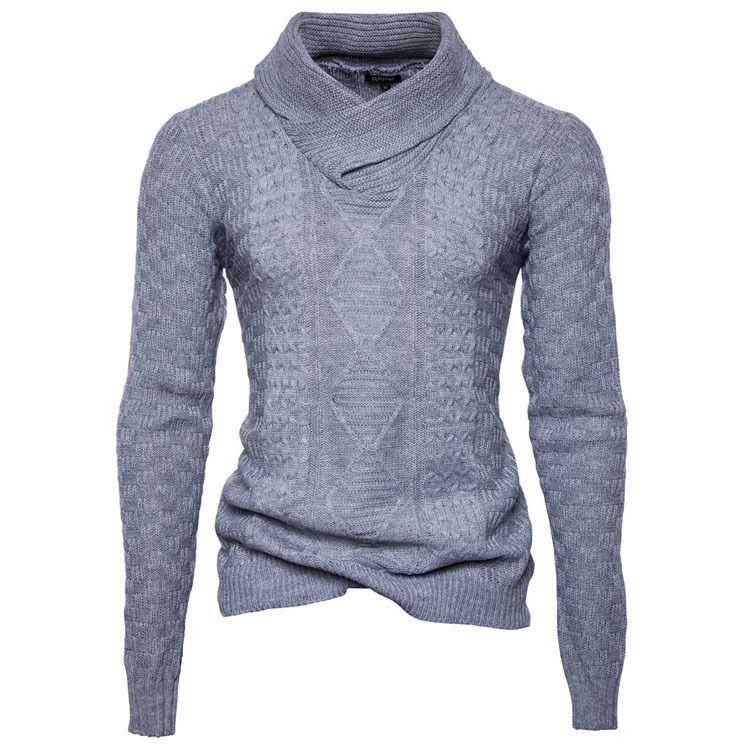 Nueva Europea para hombre de la calle principal de invierno Pila de cuello del suéter del color