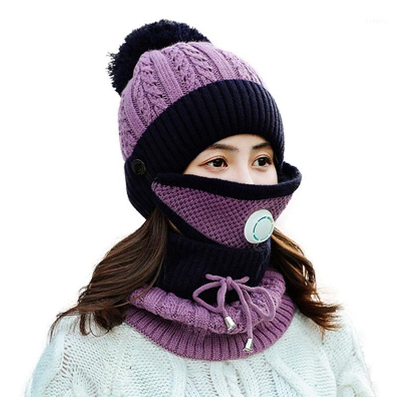 Nouvel hiver épais plus cachemire masques chauds chapeau chapeau foulard automne hiver chapeau de chapeau de chapeau de laine chapeau de laine couverture oreille collier trois set1