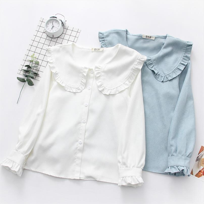 Koreanisch Neue 2021 Frühling Frauen Hemd Mädchen Nette Süße Rüschen Peter Pan Kragen Feste Farbe Lässige Bluse Hemd Tops Weibliche PZ2000