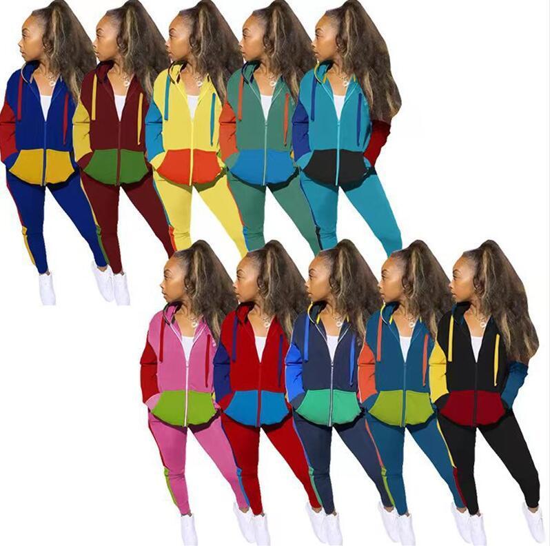 Женщины Cousssuit Conserast Color Pochwork Hood Package Gook Parts + Леггинсы Брюки Двухструктура Двухструктура Одежда с капюшоном Top Tootfits E122902
