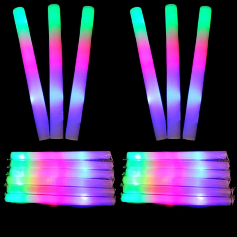12 adet / takım LED Köpük Glow Sticks Çok Renkli LED Köpük Sopa Light Up Değnekleri tezahürat Batons Ralli Rave Çocuk Parti Q0113