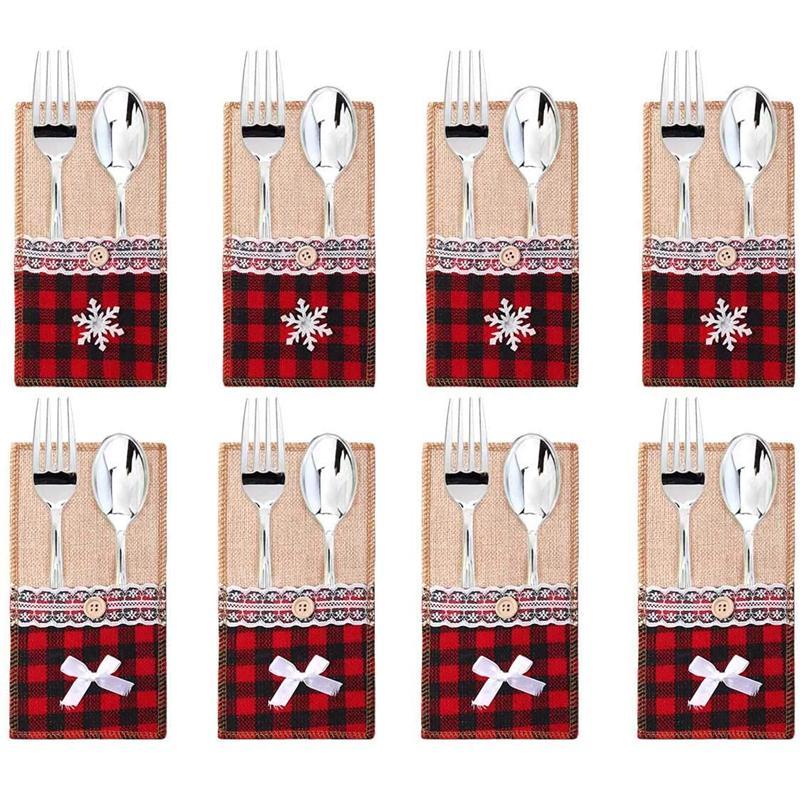 Jute Ustensile Couverts Porte-sac dentelle couteau fourchette Porte-Argenterie Noël fête de mariage Décoration de table JK2010PH