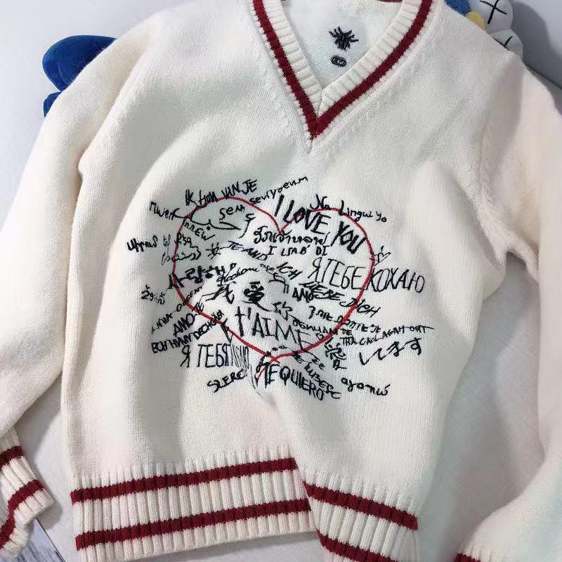 Дизайнер Бренд Женщины V-образным вырезом Модные свитеры Пульты T Станция Вышивка с длинным рукавом Женский зимний свитер Jumper одежда