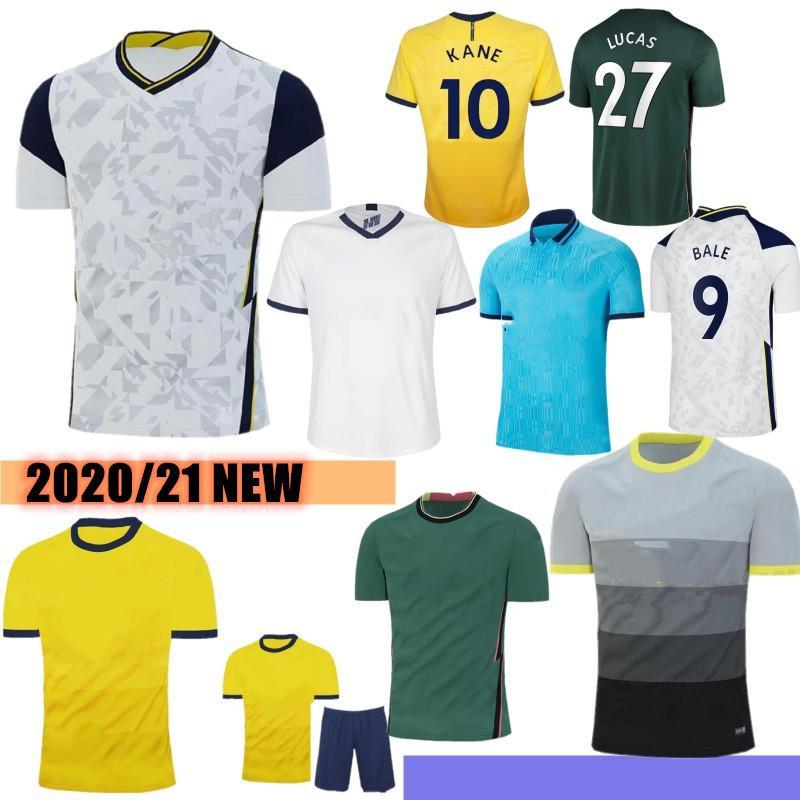 Tailandês Tottenham 20/21 Qualidade Kane Soccer Jersey Lamela Bergwijn Ndombele Dele Dele Son Jersey 19/20 Camisa de Futebol Homens Kit Kids Set Uniforme