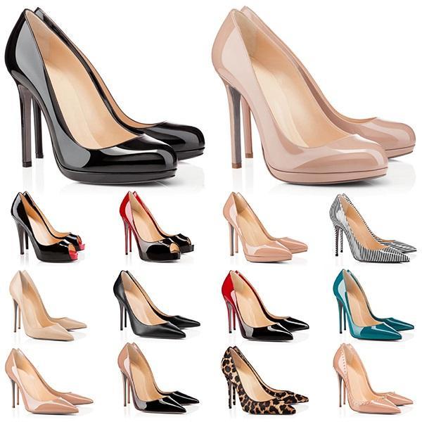Yüksek Topuklu Kırmızı Dipler Bayan Topuk 8 10 12 cm Hakiki Deri Noktası Toe Pompaları Kauçuk Düğün Ziyafet Elbise Ayakkabı Boyutu 5-10