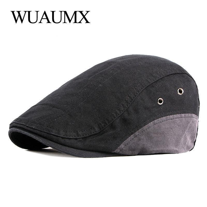 Wuaumx Casual Cotton Chevrons Cap Hommes Béret Femmes Printemps Eté visières Artiste avant Cap plat Beret Cabbies Chapeau de pilote
