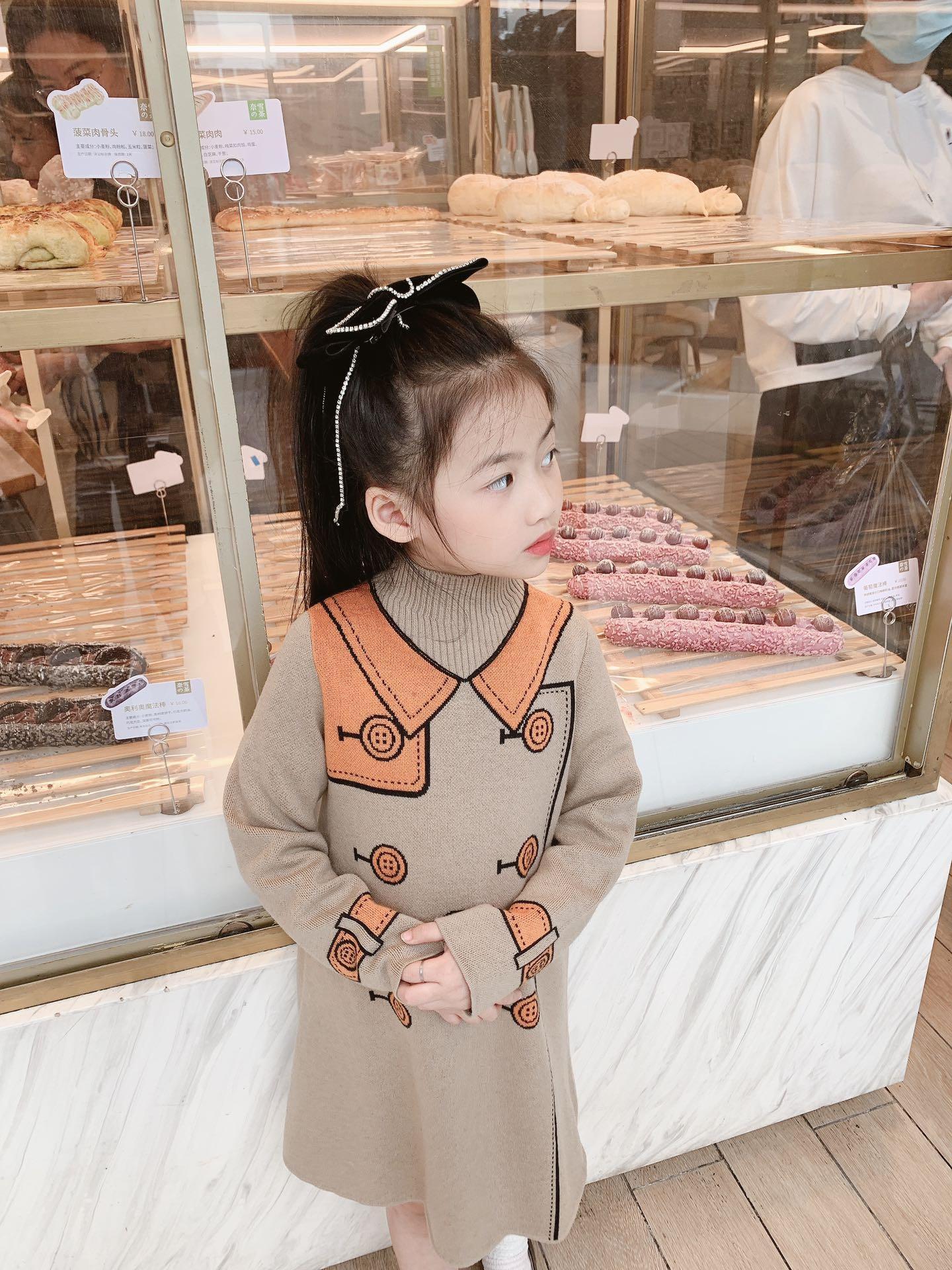 New Kids Meninas Sweater Dress Inverno Moda Doce Baby Girl Knit vestidos longos Criança Vestem roupas sólidos Tops