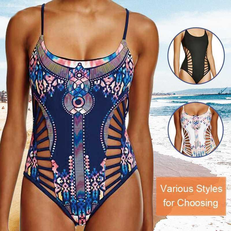 Einteiliger Badeanzug Sexy Swimwear Frauen 2020 Sommer Strand Tragen Badeanzug Bandage Hohlausschnitt Top Monokini Badeanzug 60991