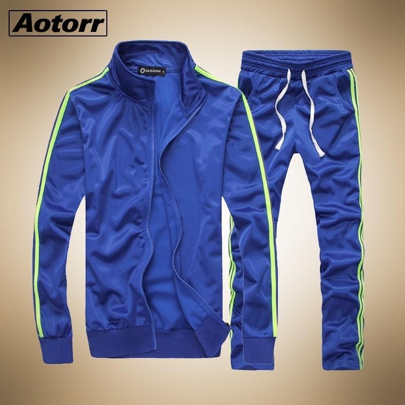 Fitness Casual Traje de chándals Sportswear Conjuntos Moda Spring Mens Ropa 2 PC Sudadera + Sweetpants Outwear Traje de la pista Hombres 201109