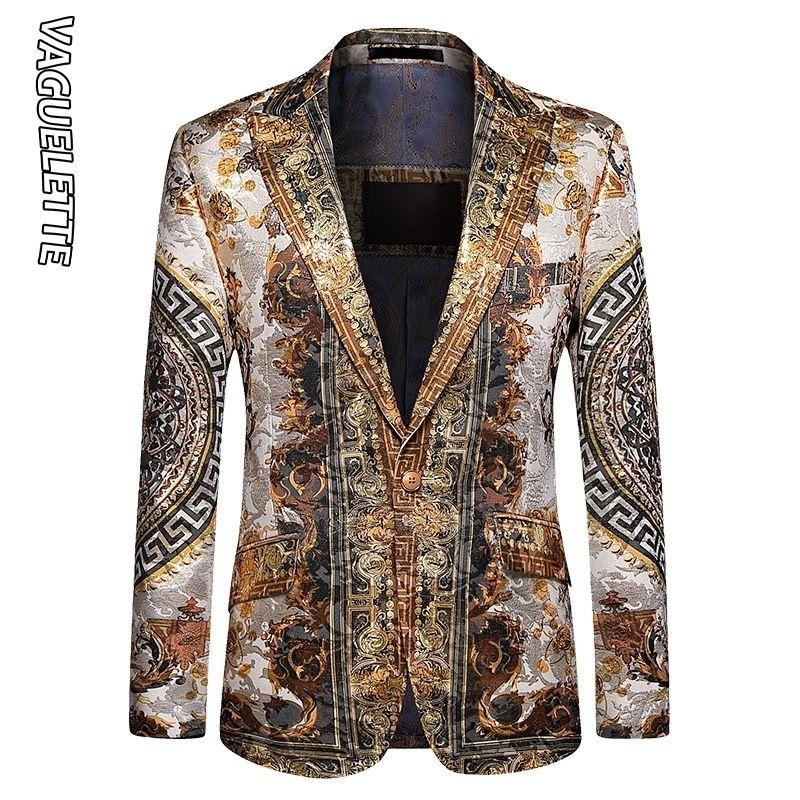 Vaguuelle Luxe Luxury Imprimé Blazer Hommes Slim Fit Hiver Jacket Party Jacket Meeting Manteau Stage Videurs Grande taille M- LJ201103
