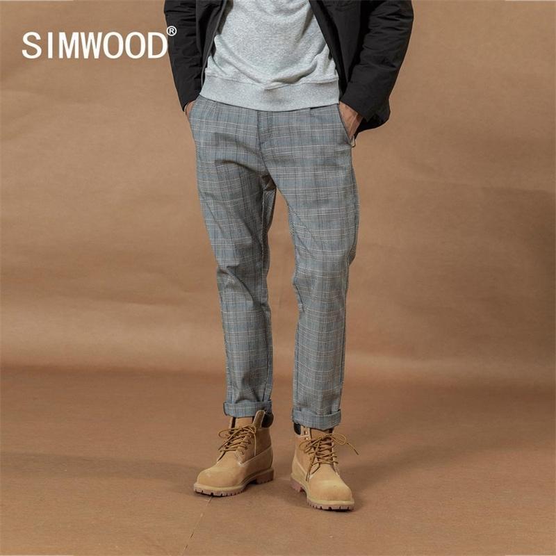 Simwood Sonbahar Kış Yeni Akıllı Rahat Ekose Pantolon Erkekler Düz Ayak Bileği Uzunlukta Pantolon Gevşek Artı Boyutu Moda Pantolon Si980532 201118