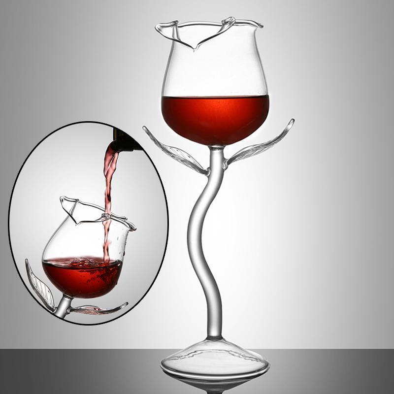 2 adet Gül Çiçek Şekli Şarap Cam Kırmızı Şarap Kadehi Kokteyl Gözlük Parti Barware Drinkware Mutfak Aletleri Parti Bar İçme