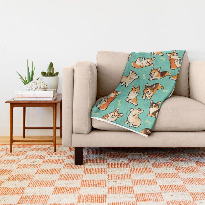 Dog Cartoon Design Blankets Jolly Corgis in Green Throw Blanket Home Primitive Decor Throw Blanket for Sofa Free Shipping