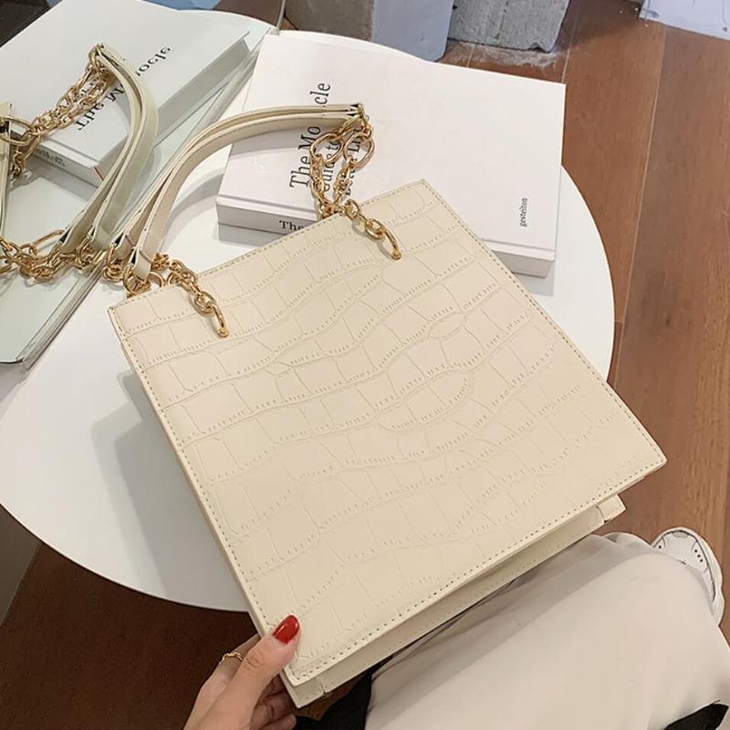 Patrón de cocodrilo Gran bolsa de asas grande 2021 Nuevo Cuero de PU de alta calidad Diseñador de mujer Diseñador de mujer Cadena de alta capacidad Bolsas de hombro