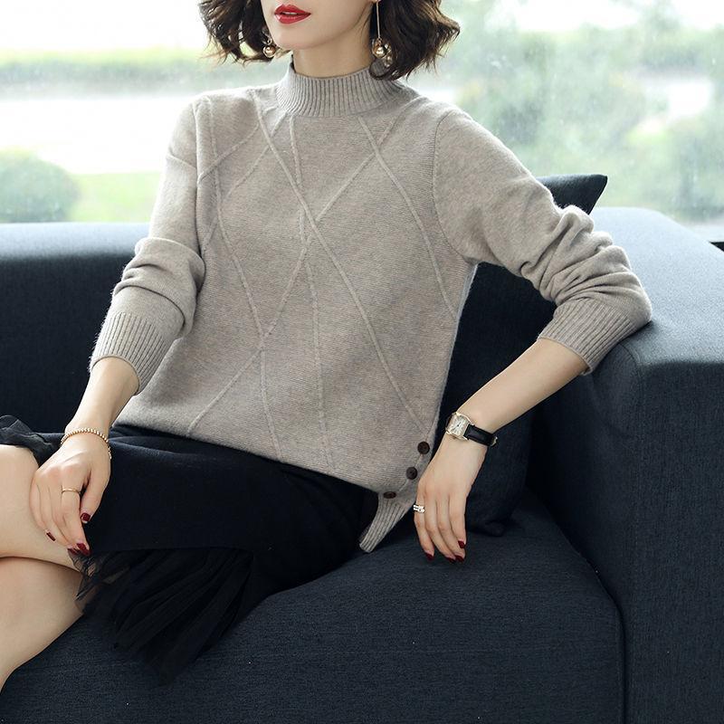 2020 Primavera Outono New Half-Neck Sweater Mulheres de Split Curto solto Wild Blue Bottoming camisola Lady Escritório Turtleneck
