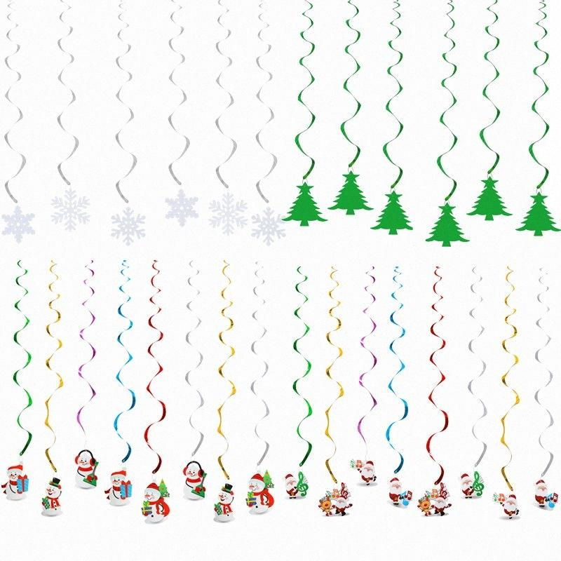Guirlande de Noël flocon de neige Père Noël bonhomme de neige de Noël Décorations Pendentif Hanging pour la maison Navidad ornement d'arbre jQNe #