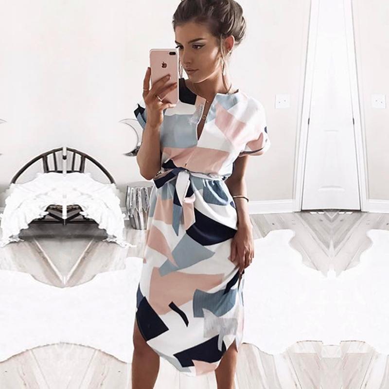 Vestido de verano de verano vestido elegante vestidos blancos estilo boho estampado geométrico vestido de playa con cinturón Vestidos de Fiesta más tamaño 3xl1