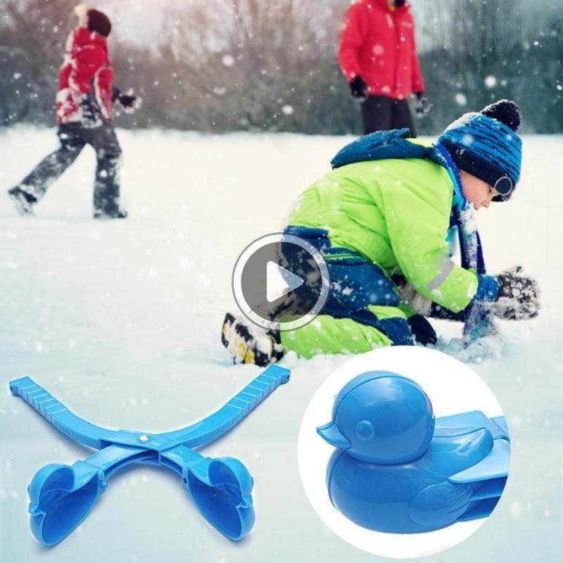 9TRZ 1 pie Cartoon Duck Snowball Maker Clip Children Winter Outdoor Sports Snow Sand Mold Outdoor Sports Tools Toys Sports Children Toys