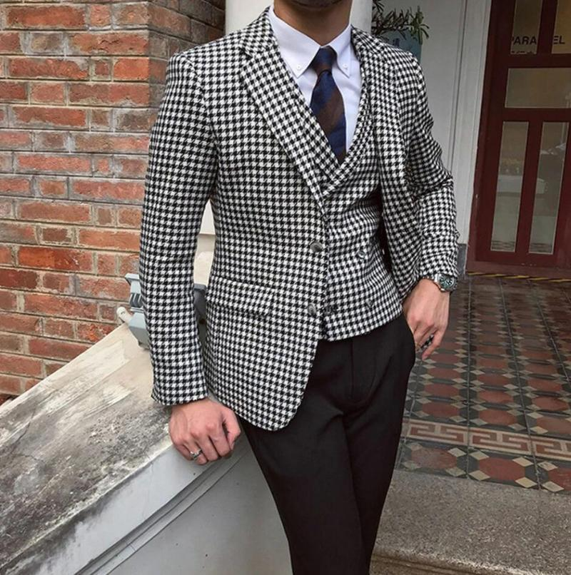Costumes pour hommes pour mariage de mariage costumes à double boutonnage Pantalon Pantalon Prom Tuxedos (Blazer + Vest + Pantalon)