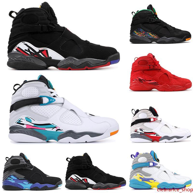 2019 8 zapatos de baloncesto de los hombres 8s DÍA DE SAN VALENTÍN Tinker AQUA Reflexiones PLAY OFF Tres TURBA hombre del diseñador entrenadores deportivos zapatillas de deporte de tamaño 41-47