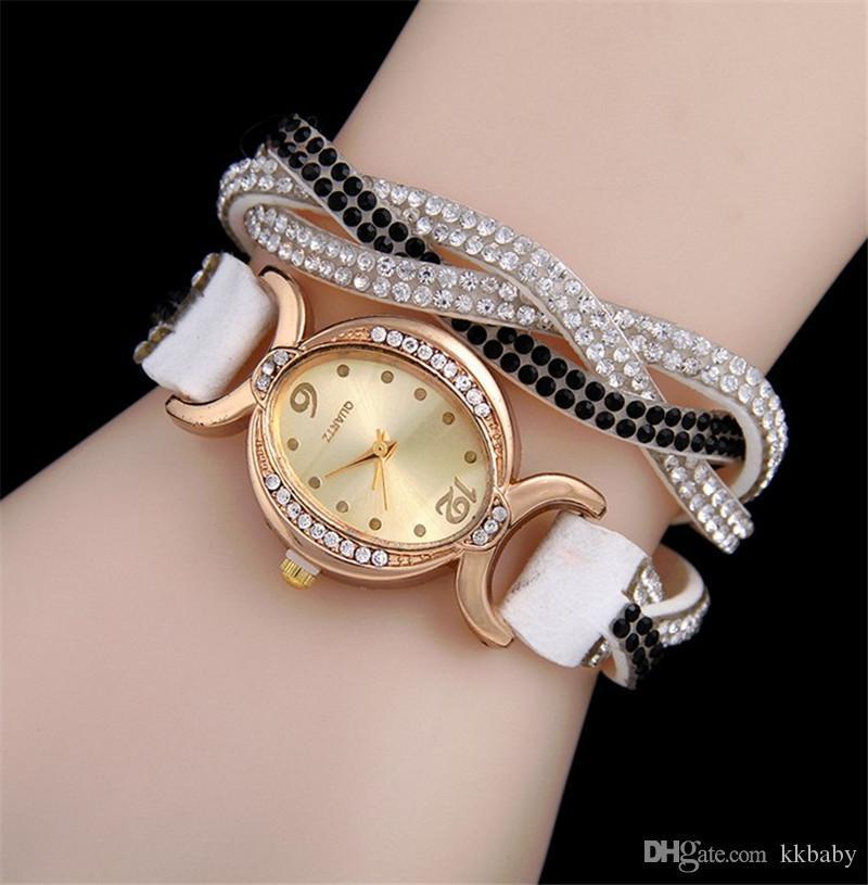 Crystal Women Wrap Watches Corea Velvet Band Lady Pelle Ploto Orologi da polso Oval Diamond Quadrante Affascinante Bracciali di Charme Orologi Mix Colors