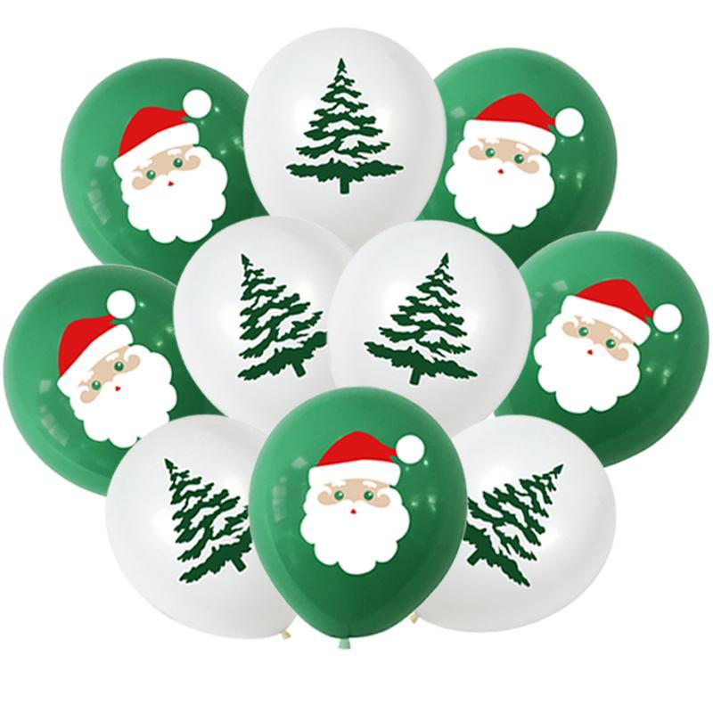10Pcs Santa Claus Xmas Tree Latex Balloon Confetti Air Ballons Merry Christmas Party Baloons Kids Birthday Party Supplies