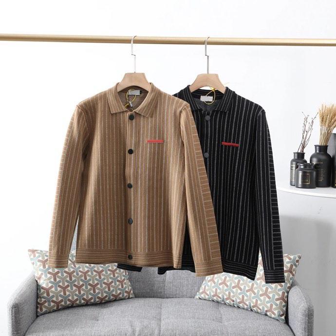 20FW Automne Coût classique Homme Casual rayé tricot Cardigan Veste Lapel Trendy Tempérament Tout match Homme et Femme Veste