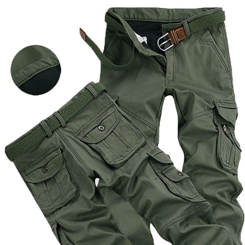 2021 Новые мужские толстые зимние брюки повседневные горячие грузовые брюки шерстяные карманы плюс размер 38 40 модный мешковатый джонгер мужского пола LG0D