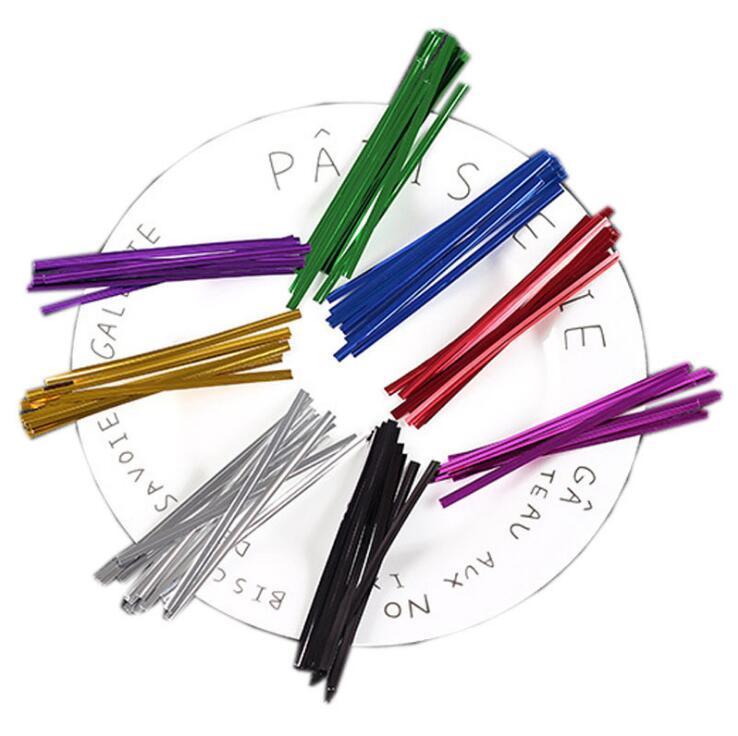 Twist metálico laços vedando fio de ligação para plástico doces bolsa de bolo de bolo de casamento presentes de aniversário de casamento pacote de empacotamento 8cm mar ppc5259