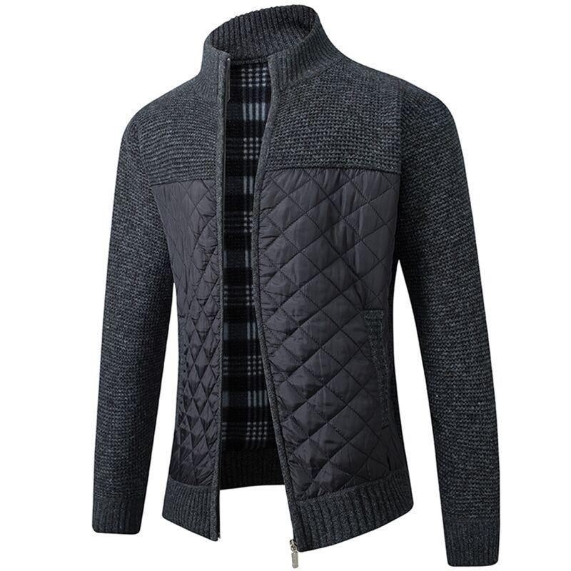 Otoño invierno mandarin collar hombres cardigan grueso remiendo bolsillo cremallera cremallera suave abrigo tibio punto casual suéter masculino tirón homme 201221