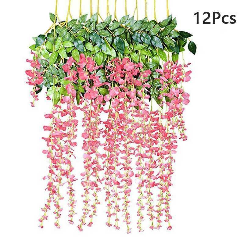 Flores decorativas grinaldas 12pcs / conjunto artificial wisteria hera videira folha pendurado decoração de casa de silk1