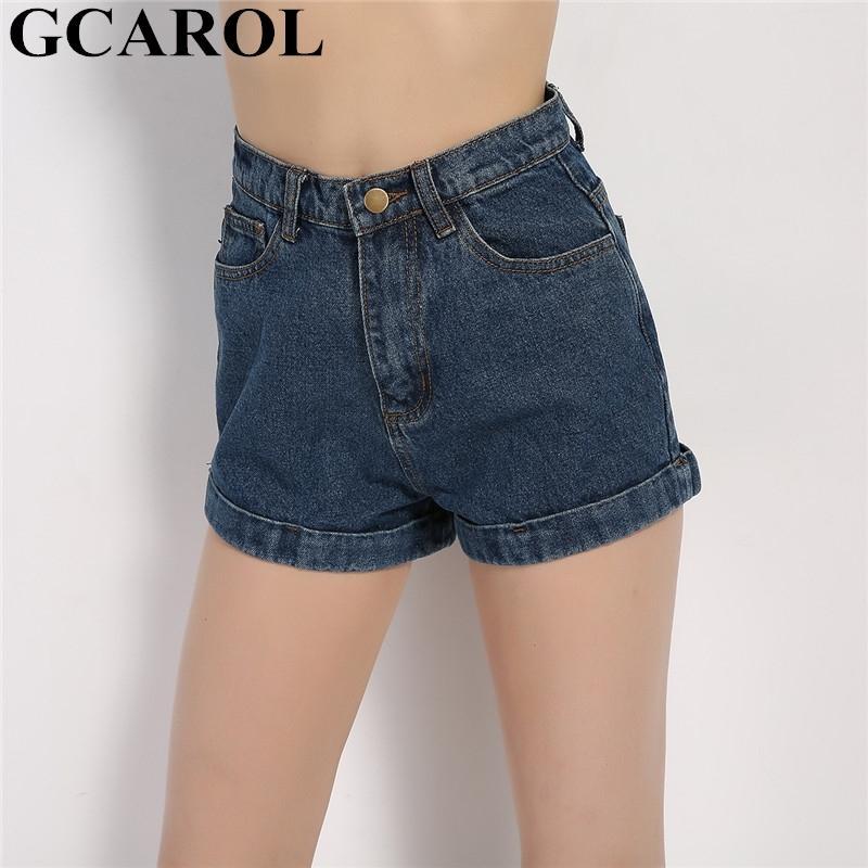 Gcarol Euro Stil Kadınlar Denim Şort Vintage Yüksek Bel Kelepçeli Kot Şort Sokak Giyim Seksi Yaz İlkbahar Sonbahar Şort Y200403