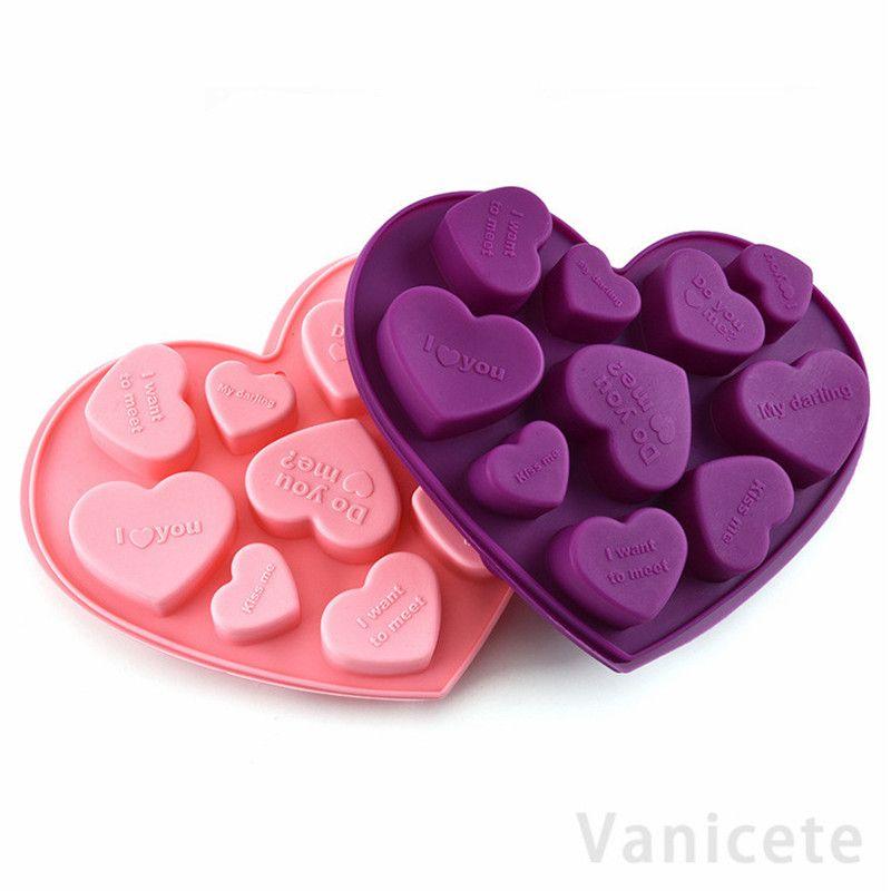 سيليكون قوالب الشوكولاته شكل قلب الإنجليزية خطابات كعكة الشوكولاته العفن سيليكون علبة الجليد جيلي قوالب الصابون الخبز العفن 300 قطع T1I3500