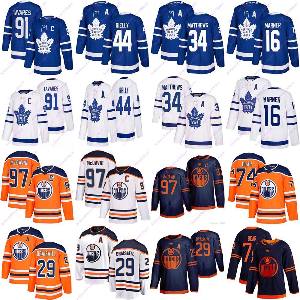 Toronto Maple Leafs Jersey 91 Tavares 16 Marner 34 Matteo 44 Rilelly Edmonton Oilers Jerseys 97 McDavid 74 Bear 29 Draisoaitl Hockey Jerseys