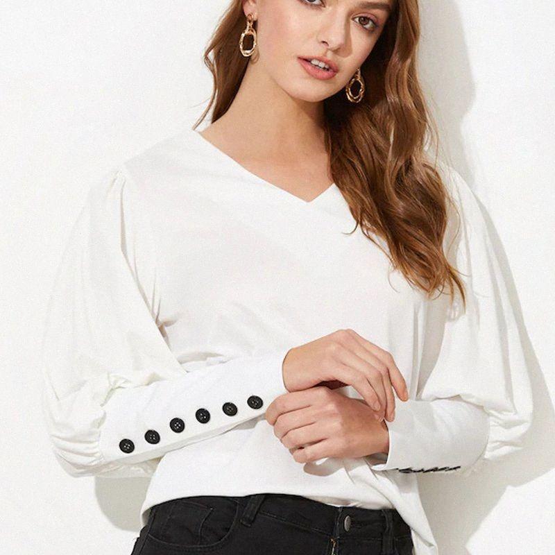 Vintage Retour Btuton élégant à manches longues col V Sexy Office Lady Shirt 2020 Printemps Nouveau Mode Femmes Tops et Chemisier Y200402 71nU #