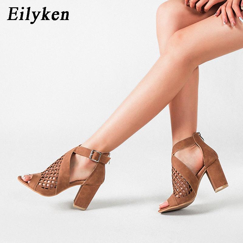Eilyken 2020 Scarpe estate nuove donne spessa Tacchi alti scava fuori superficie netta Peep Toe ZIP Buckle Strap Sandals Plus Size 36-43 0928