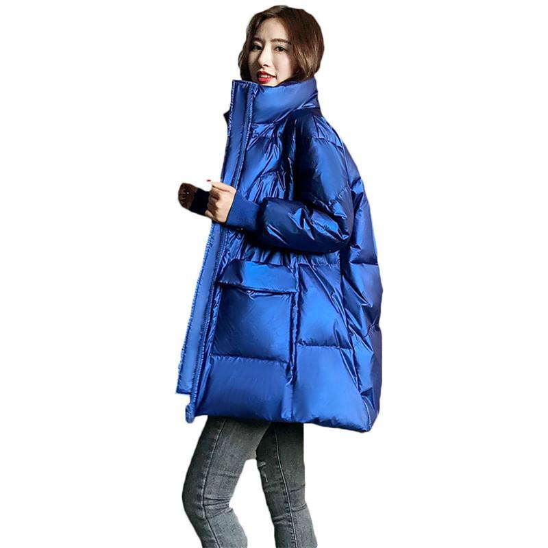 Frauen Stehkragen Mittellange Mäntel 2020 Winter-Shiny verdickte Korean warme weiße Ente Daunenjacken B625