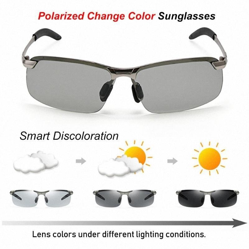 Фотохромные солнцезащитные очки Мужчины поляризованные вождения Хамелеон очки Мужчины Изменение цвета солнцезащитной день ночного видения вождения очки R5kY #