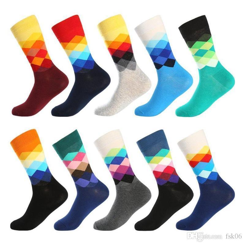 Calzini di cotone Uomini Variopinto Rhombus Happy Funny Socks Personalità Skateboard Design Stampa Harajuku Maschio