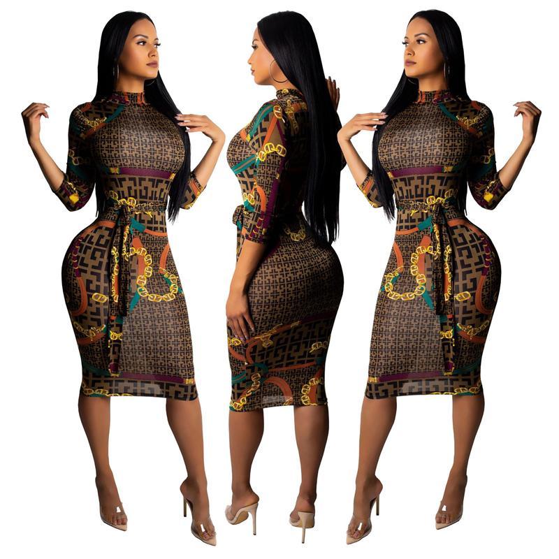 2020 Модный Сексуальный Bodycon Bandage Женщины Вечеринки Ночное Платья Полукайв Летние Сексуальные Платья Клуб Плед Печать Платье