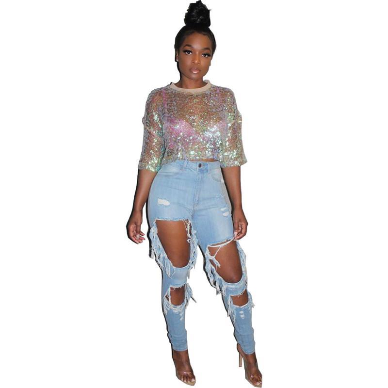 Artı Boyutu Bayan T Shirt Moda Sequins ile Dirsek Kollu Mürettebat Boyun Tasarımcısı Seksi Bayan Giyim