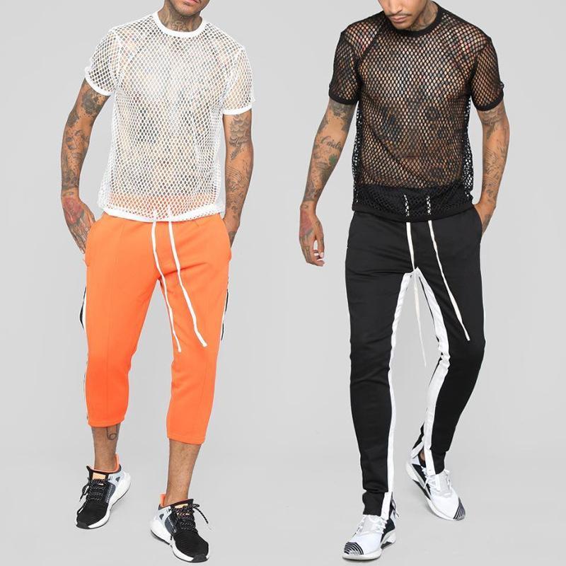 Tişört Fishnet Hollow Clubwear Streetwear sayesinde Seksi Erkekler Mesh See Erkek Kısa Kollu Üst Atlet Üst Tee gerçekleştir