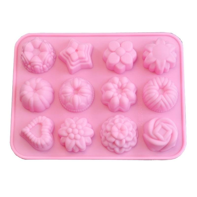 Sabonete de chocolate de silicone moldes de gelo grade de geléia de geléia flor amor coração padrão moldes fáceis demolir 3 4fj f2