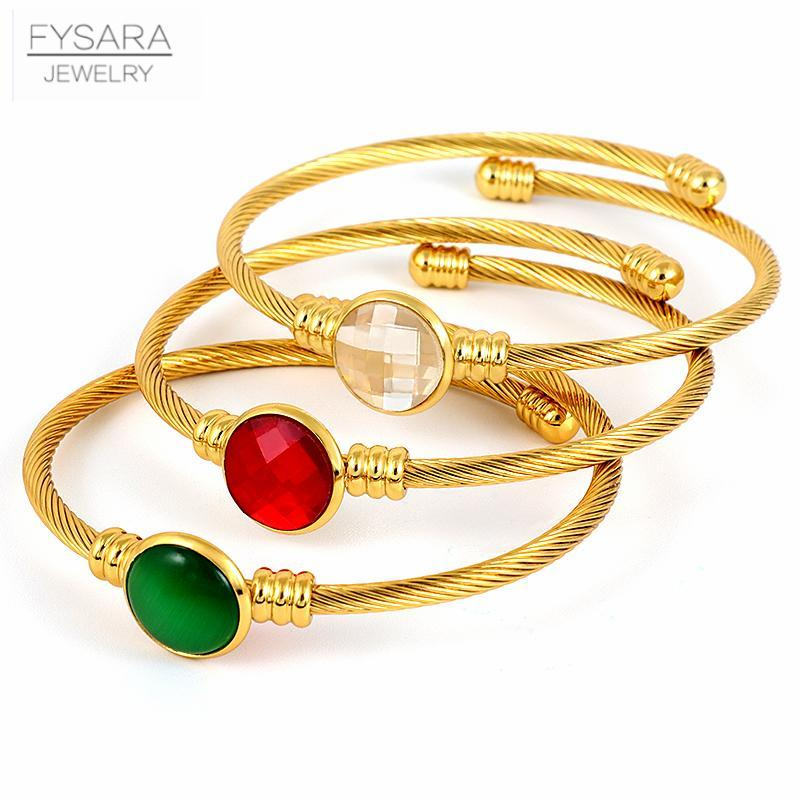 Fysara verde rotondo Red Stone Charm Bracciali cavo filo d'oro di colore acciaio inossidabile dei braccialetti del polsino delle donne della ragazza ritorto sottile braccialetto bbyolI