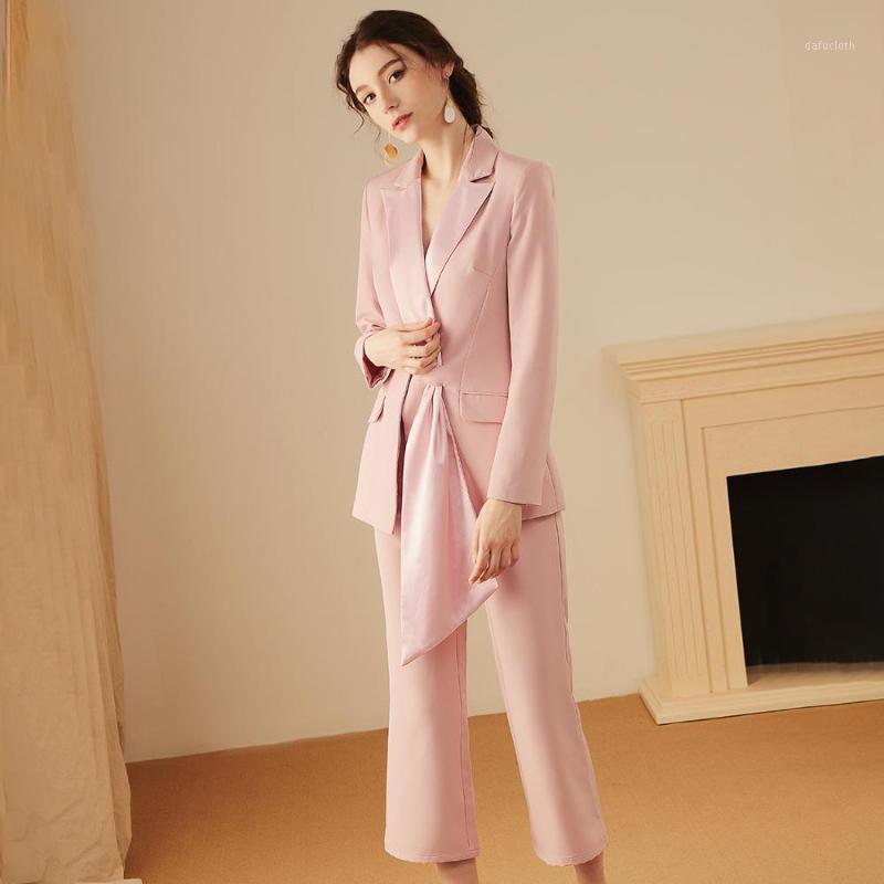 Damen Anzug New Damen Slim Anzug Zweiteiliger Blazer mit geraden Hosen Set stilvolle einzigartige Design Neue Ankünfte1