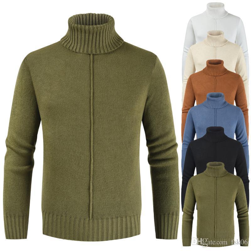 Maglione dolcevita Uomini HCXY Uomini di spessore maglione maschio vestiti lavorati a maglia 0.62kg inverno caldo lavorato a maglia Abbigliamento M-3XL Stretch Slim Fit