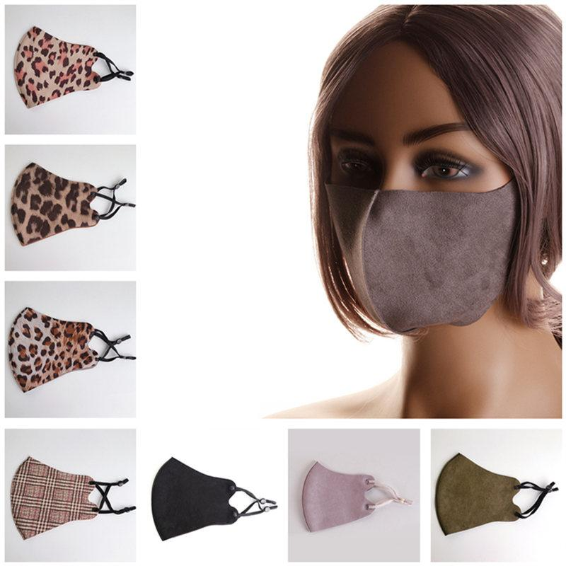 Maschere viso in tessuto in pelle scamosciata unisex Leopard Plaid Print Anti Dust Face Mask Fashion Fashion Antivento A MASCHETTO A MASCHETTE A MASCHETTE A GUIDA ESTERNA
