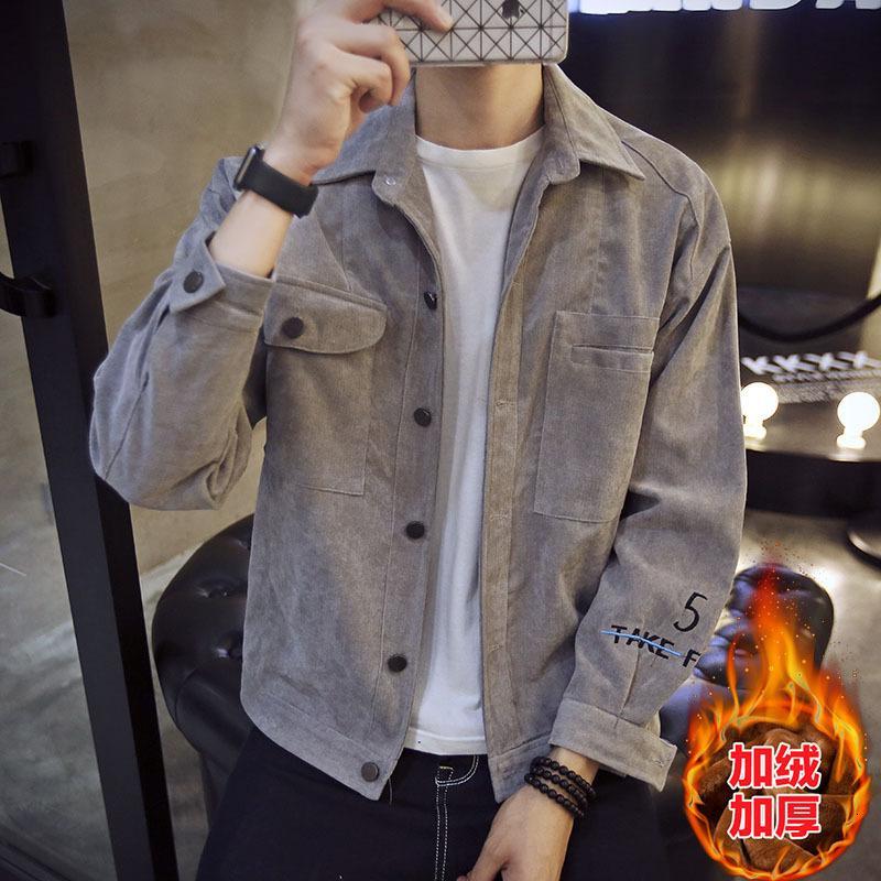 Мужские плюшевые новые инструменты функциональная одежда Одежда осенью и зимой корейская мода джинсовая куртка мужчины