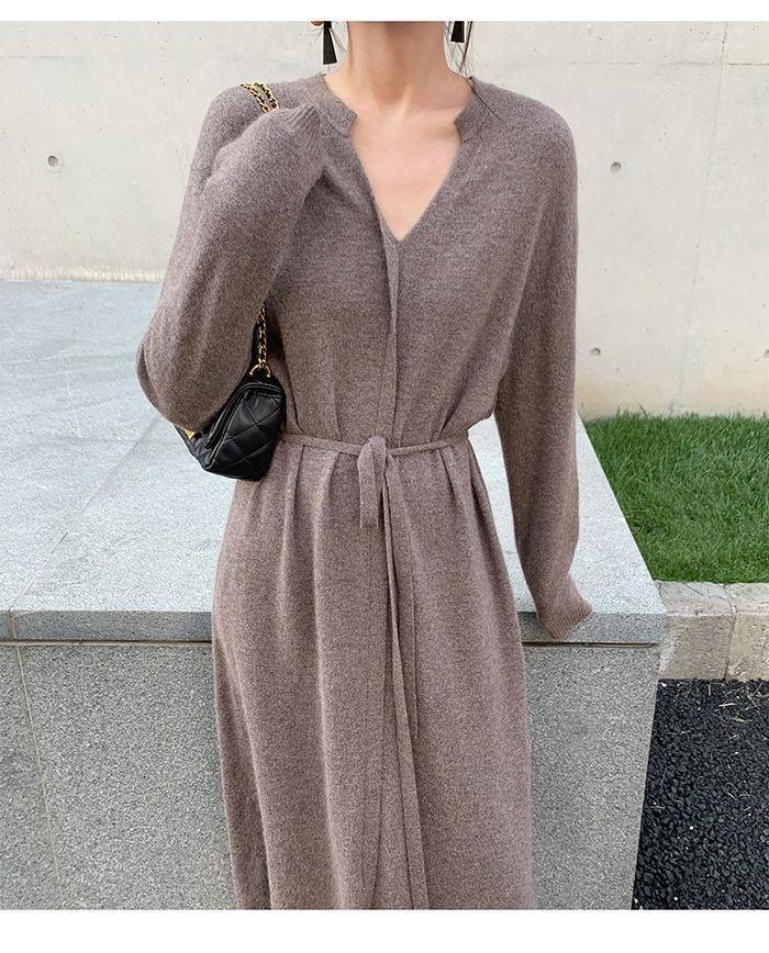Vintage mujer vestido de punto otoño invierno breve cuello en v cordón cálido cordón cordón lácteo suelto midi hembra suéter vestido 20201